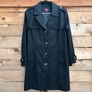 Gallery Black Hooded Raincoat, 3/4 Length, Size L